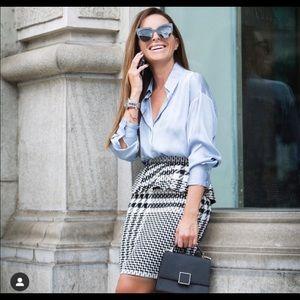 Zara plaid ruffled pencil skirt xs